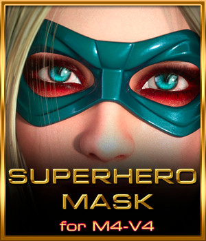 SuperHero Mask for M4 and V4 3D Figure Assets hal001