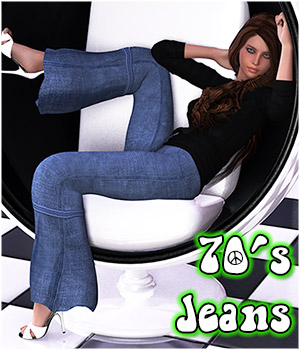 70s Bell Bottom Jeans for Genesis 3D Figure Assets RPublishing