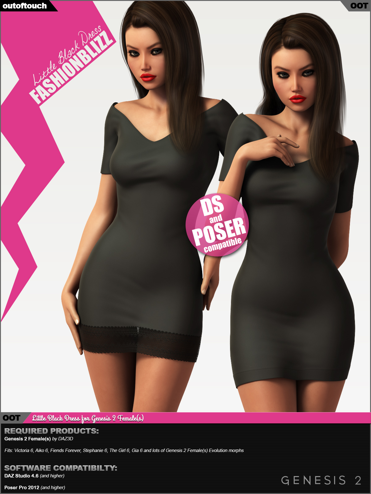 Fashion Blizz - Little Black Dress for Genesis 2 Female(s)