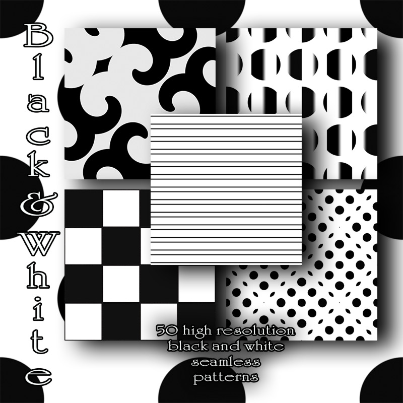 Black and White seamless Patterns by antje
