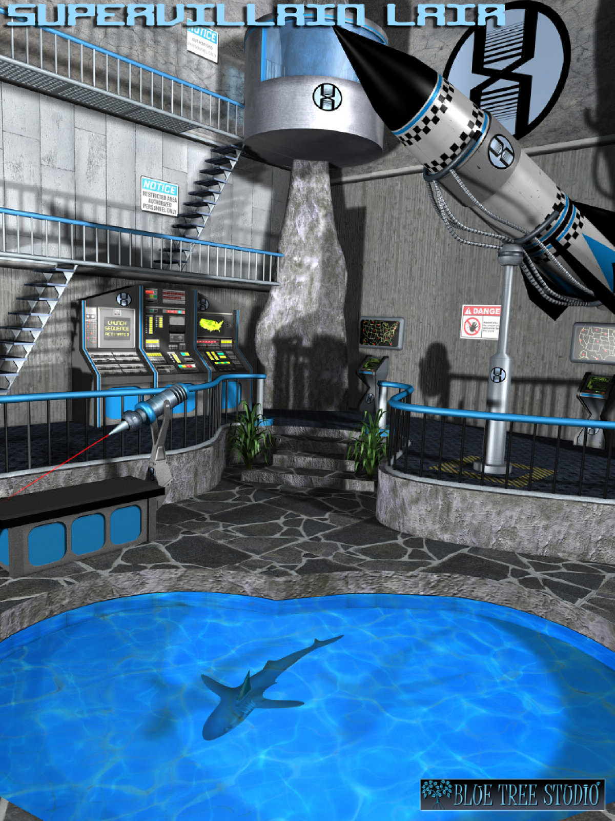 supervillain lair 3d models bluetreestudio