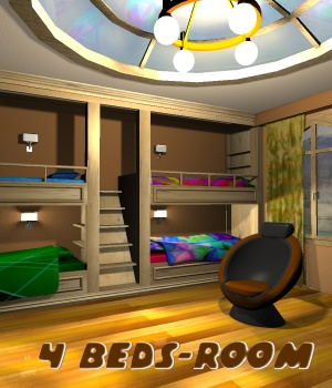 4 Beds-Room - Extended License Gaming 3D Models greenpots