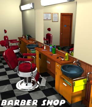 Barber shop - Extended License Gaming 3D Models greenpots