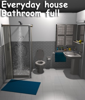 Everyday house Bathroom full - Extended License Gaming 3D Models greenpots