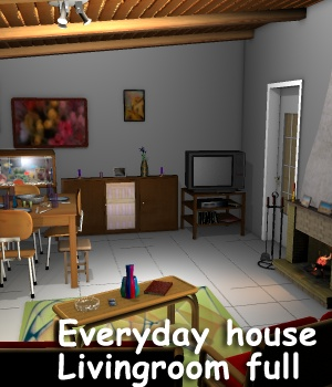 Everyday house Livingroom full - Extended License 3D Models Gaming Extended Licenses greenpots