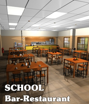 SCHOOL Bar-Restaurant - Extended License 3D Models Gaming greenpots