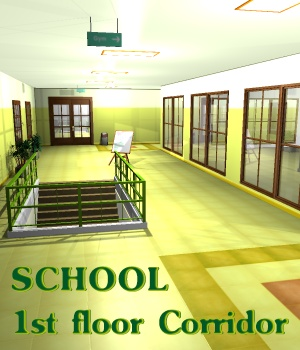 SCHOOL 1st floor Corridor - Extended License 3D Models Gaming greenpots