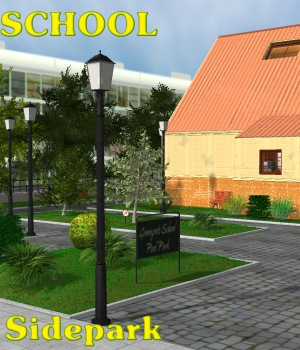 School Side Park - Extended License 3D Models Gaming greenpots