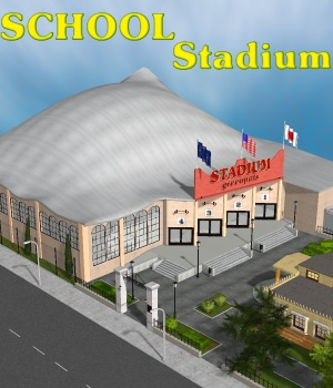 School Stadium - Extended License 3D Models Gaming greenpots