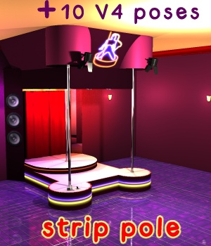Strip Pole - Extended License 3D Models Gaming greenpots