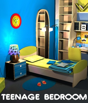 Teenage Bedroom - Extended License 3D Models Gaming greenpots