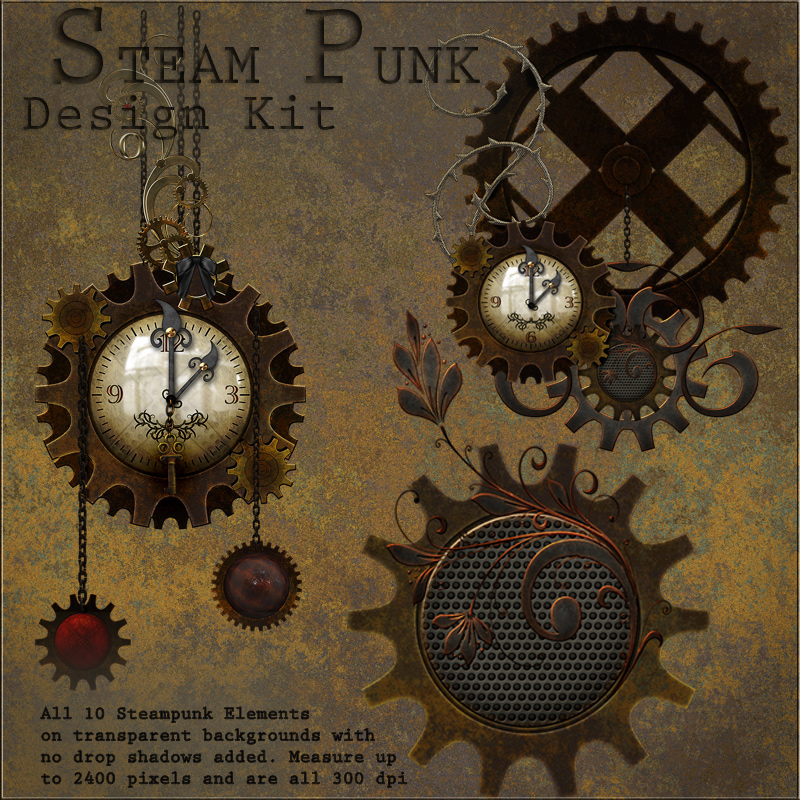 Steampunk design kit 2d graphics merchant resources antje for What is steampunk design