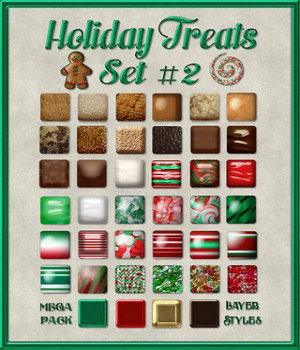 Holiday Treats Layer Styles Set #2 MegaPack 2D Merchant Resources fractalartist01