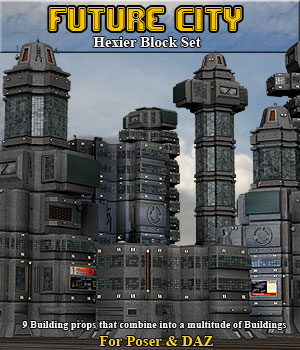 Future City Hexier Blocks - Extended License 3D Models Simon-3D