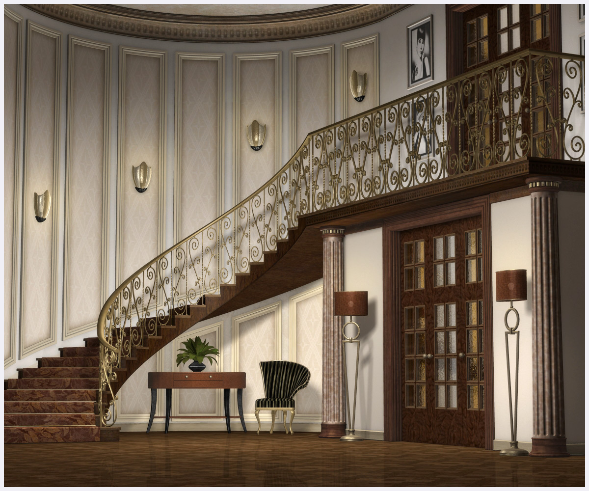 A Grand Foyer : Grand foyer corner d models grayclouddesign