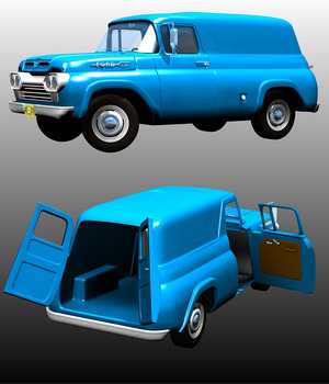 Ford F100 Panel 1960 3D Models Nationale7