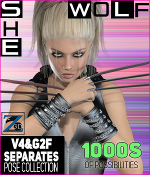 Z She-Wolf - Separates Collection - V4-G2F 3D Figure Essentials 3D Models Zeddicuss