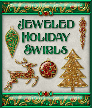 Jeweled Holiday Swirls Layer Styles 2D Merchant Resources fractalartist01