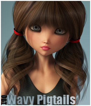 Wavy Pigtails Hair and OOT Hairblending 3D Figure Assets outoftouch