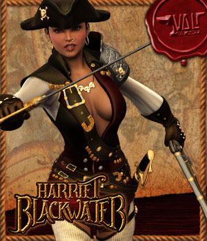 Harriet Blackwater - Pirate Outfit Gen2Fem 3D Figure Assets Val3dArt