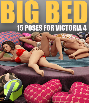 Big Bed Victoria 4 poses 3D Figure Assets powerage