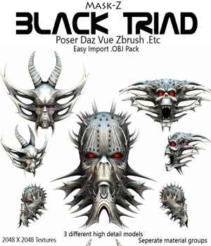Black Triad .OBJ Pack 3D Figure Assets 3D Models Poisen