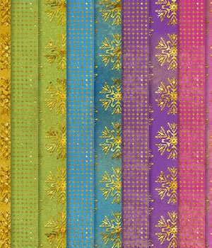 Christmas Gold Glitter Snowflake Background Papers 2D Diandra
