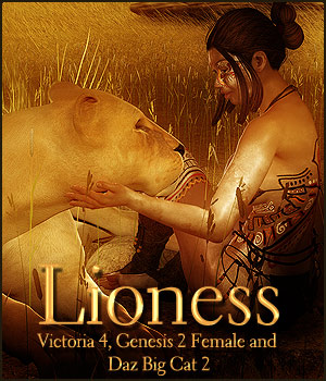 Lioness for V4, G2F & Daz Big Cat 2 3D Figure Assets -dragonfly3d-