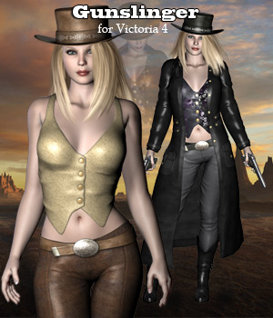 Gunslinger for V4, A4, G4 3D Figure Assets 3D Models RPublishing