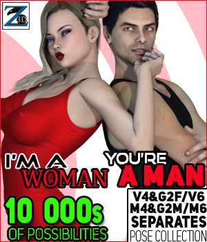 Z I'm A Woman You're A Man - Separates Collection - V4-V6-G2F-M4-M6-G2M 3D Figure Assets Zeddicuss