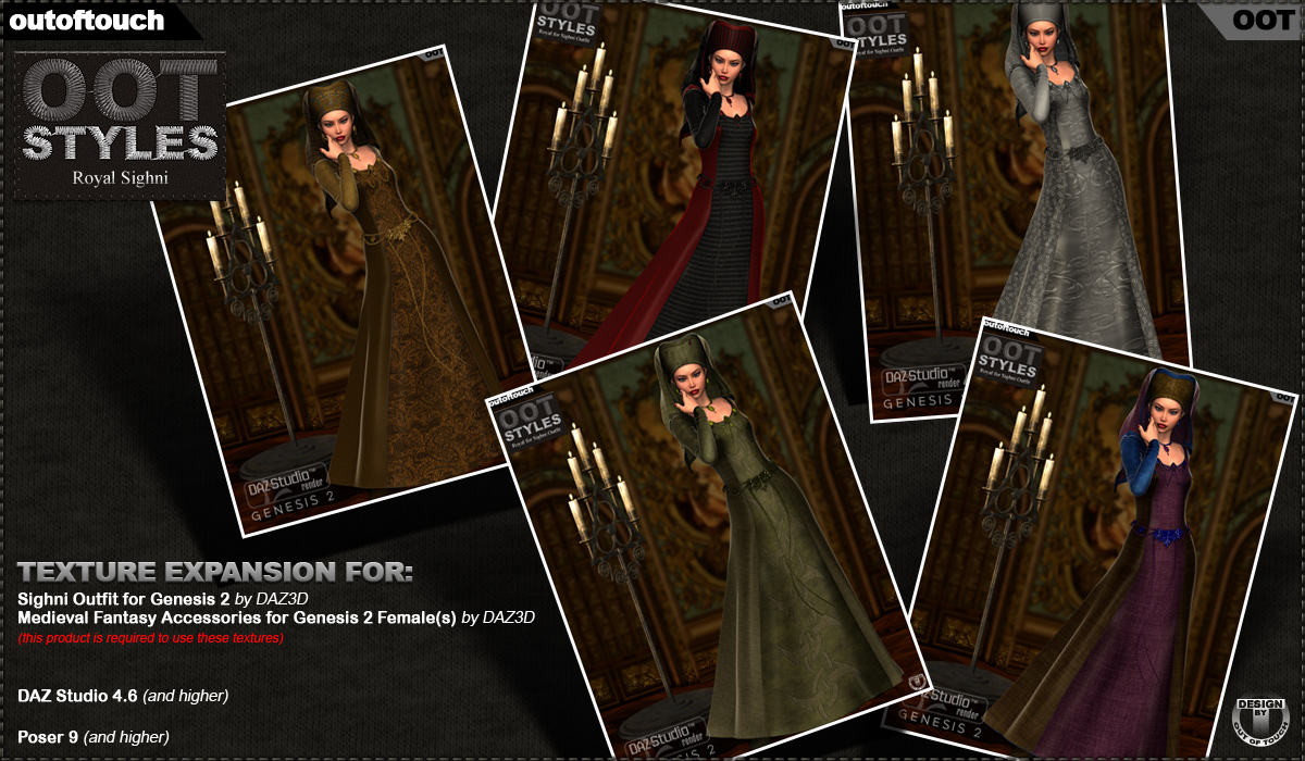 OOT Styles for Sighni Outfit & Medieval Fantasy Accessories for Genesis 2 Female