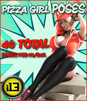 i13 Pizza Girl POSES G2F/V6 3D Figure Assets ironman13