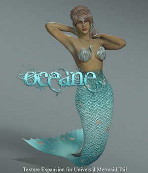 Oceane, Texture Expansion for Universal Mermaid Tail 3D Figure Assets TT