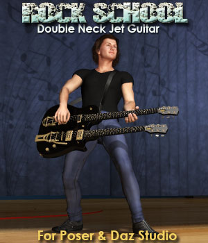 Rock School Double Neck Jet Guitar 3D Models Simon-3D