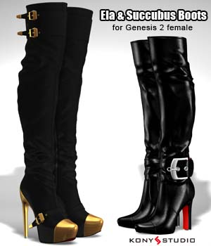 Ela & Succubus Boots for G2f 3D Figure Essentials kony