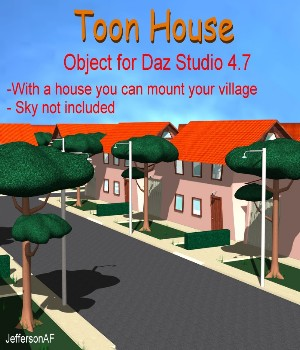 Toon House Daz Studio 3D Models Software JeffersonAF