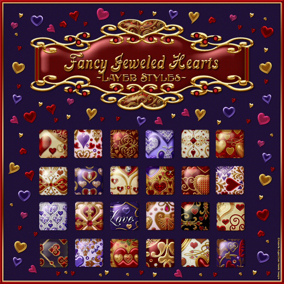 Fancy Jeweled Hearts Layer Styles by fractalartist01