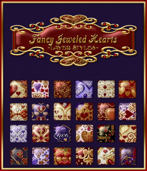 Fancy Jeweled Hearts Layer Styles 2D Graphics Merchant Resources fractalartist01