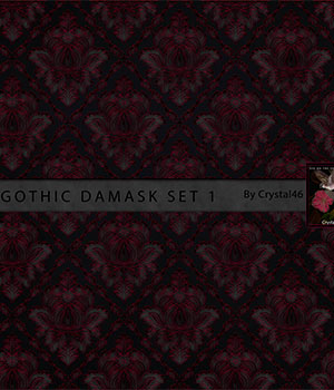 Gothic Damask Backgrounds:  Set 1 2D Crystal46