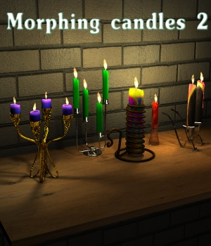 Morphing candles 2 - Extended License Gaming 3D Models greenpots