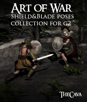 Art of War - The Ultimate Shield&Blade Poses for Genesis 2 3D Figure Assets TheCava