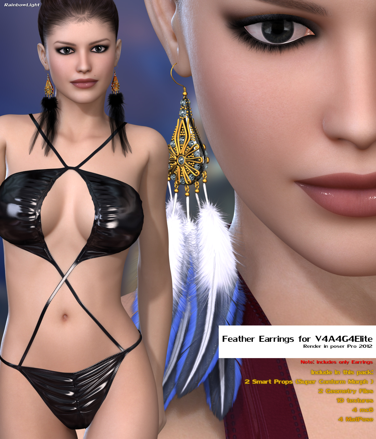 Feather Earrings for V4A4G4ElitebyRainbowLight()
