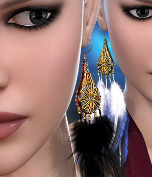 Feather Earrings for V4A4G4Elite 3D Figure Assets RainbowLight