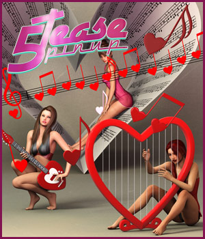 5TEASE PinUp Vol 6: Love Song - Poses and Props for V4, V6 & G2F 3D Figure Assets 3D Models outoftouch