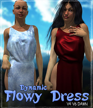 Dynamic Flowy Dress 3D Figure Assets ShaaraMuse3D