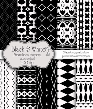 Black and White Seamless Papers 2D Merchant Resources antje