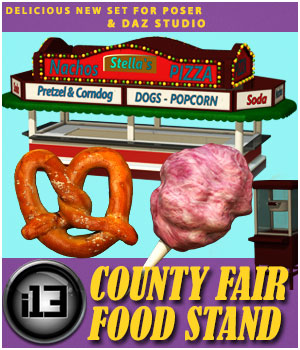 i13 County Fair FOOD Stand for Poser and DAZ Studio 3D Figure Essentials 3D Models Lights and Cameras ironman13