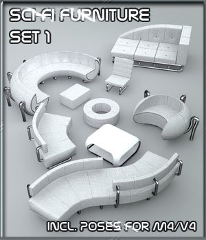 SciFi Furniture Set 01 3D Models 3-d-c