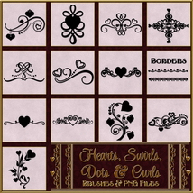 Hearts, Swirls, Dots & Curls Brushes and png Files Pack image 3
