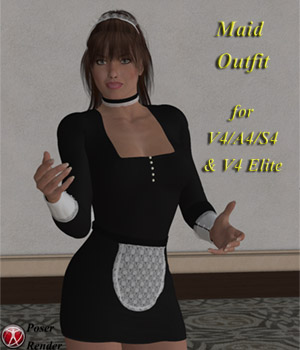50's Maid Outfit for V4/Aiko4/Stephanie4/V4Elite 3D Figure Assets succubusart